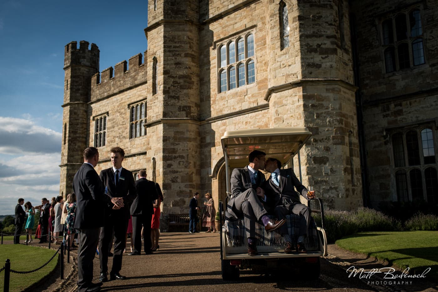 Grooms in golf buddy at their Leeds Castle Wedding