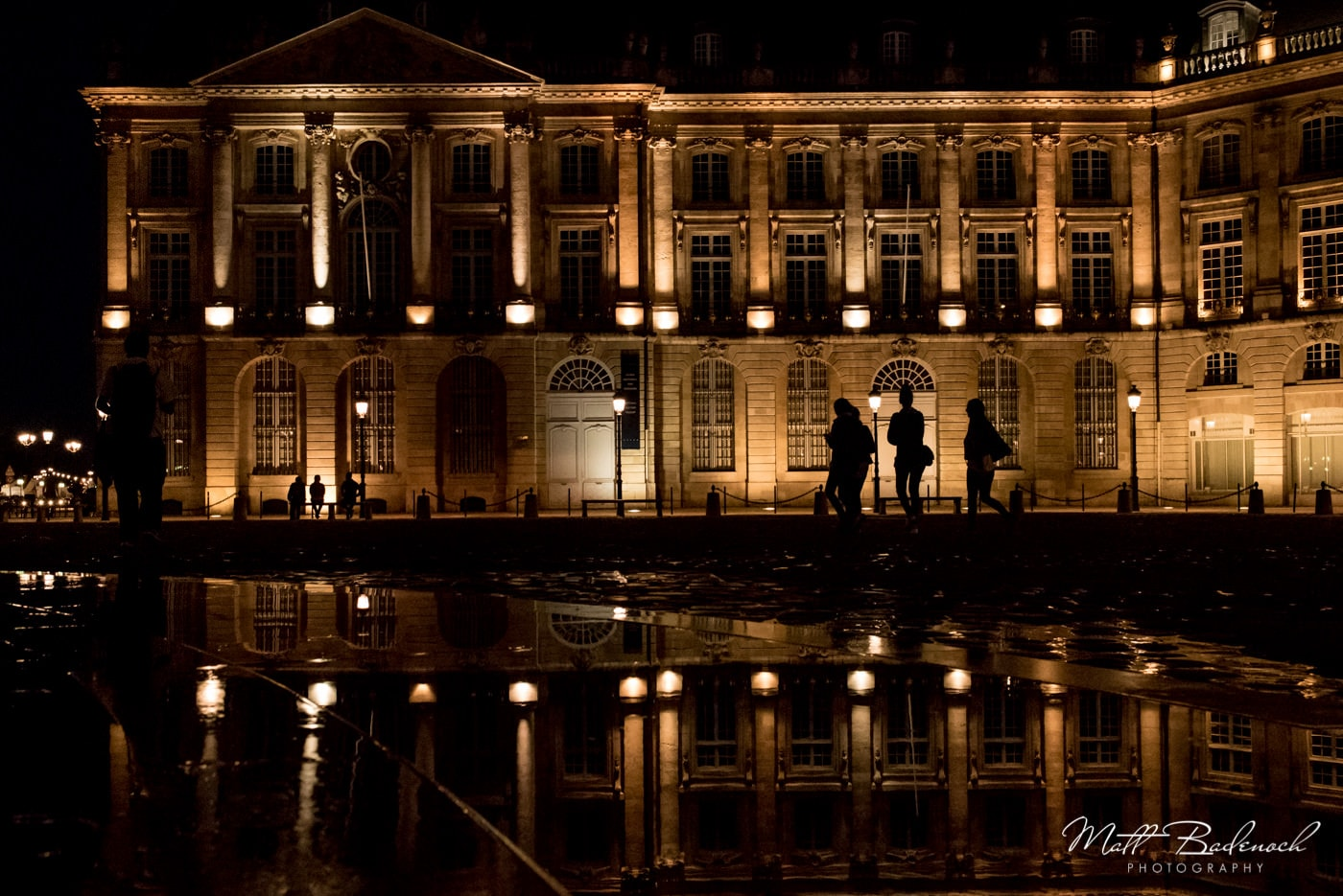 place de la bourse lit up at night, reflection, | bordeaux street photography
