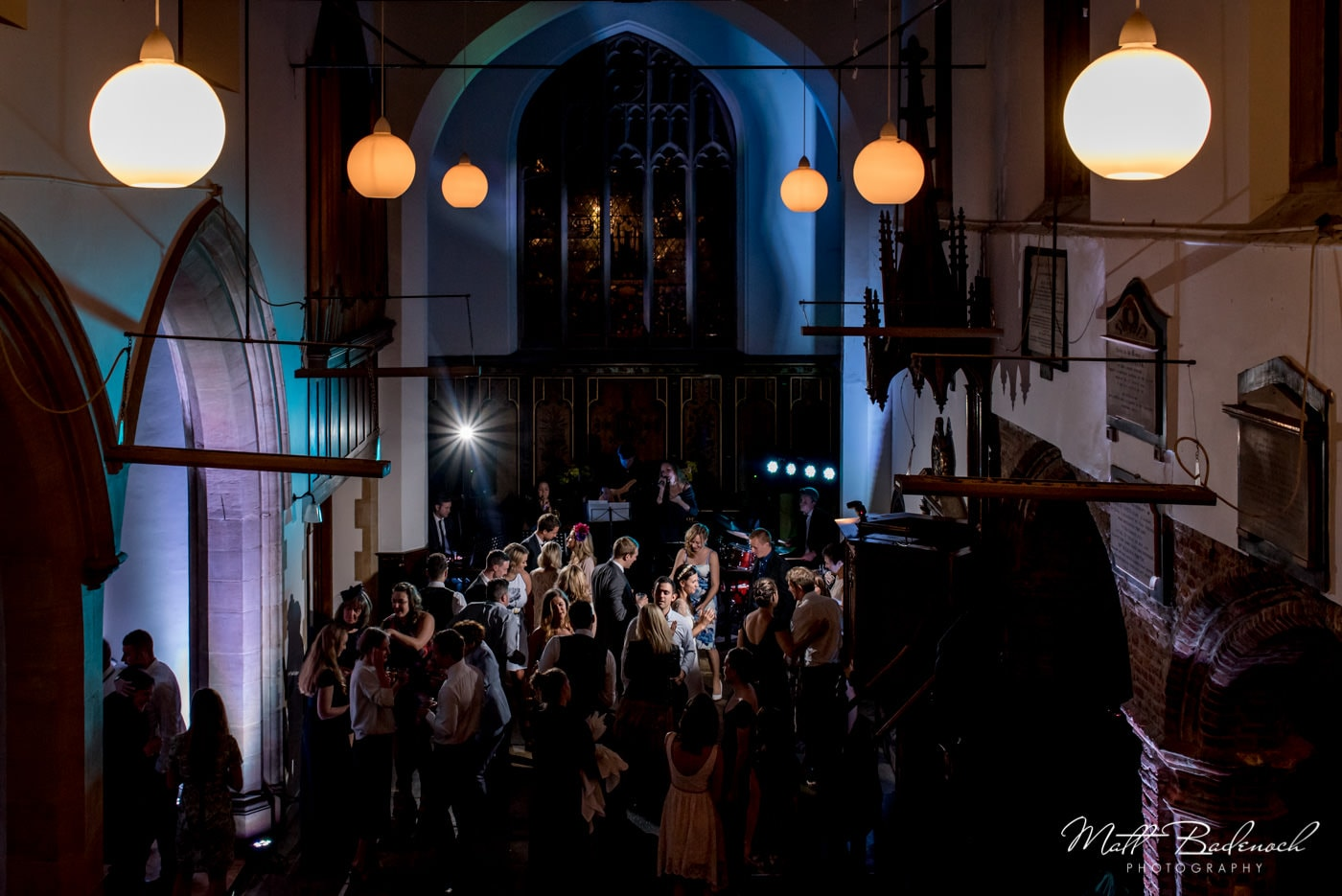 Guests on the dance floor at a St Mary's Old Church Wedding