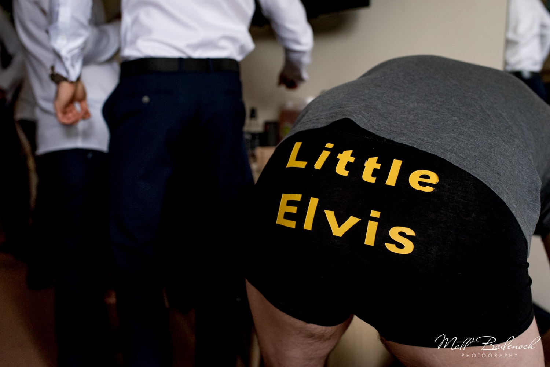 Groom wearing Little Elvis boxers