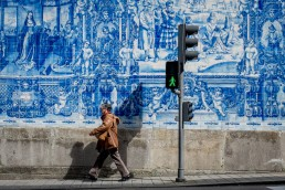 Porto street photography of Azulejo, famous blue tiles