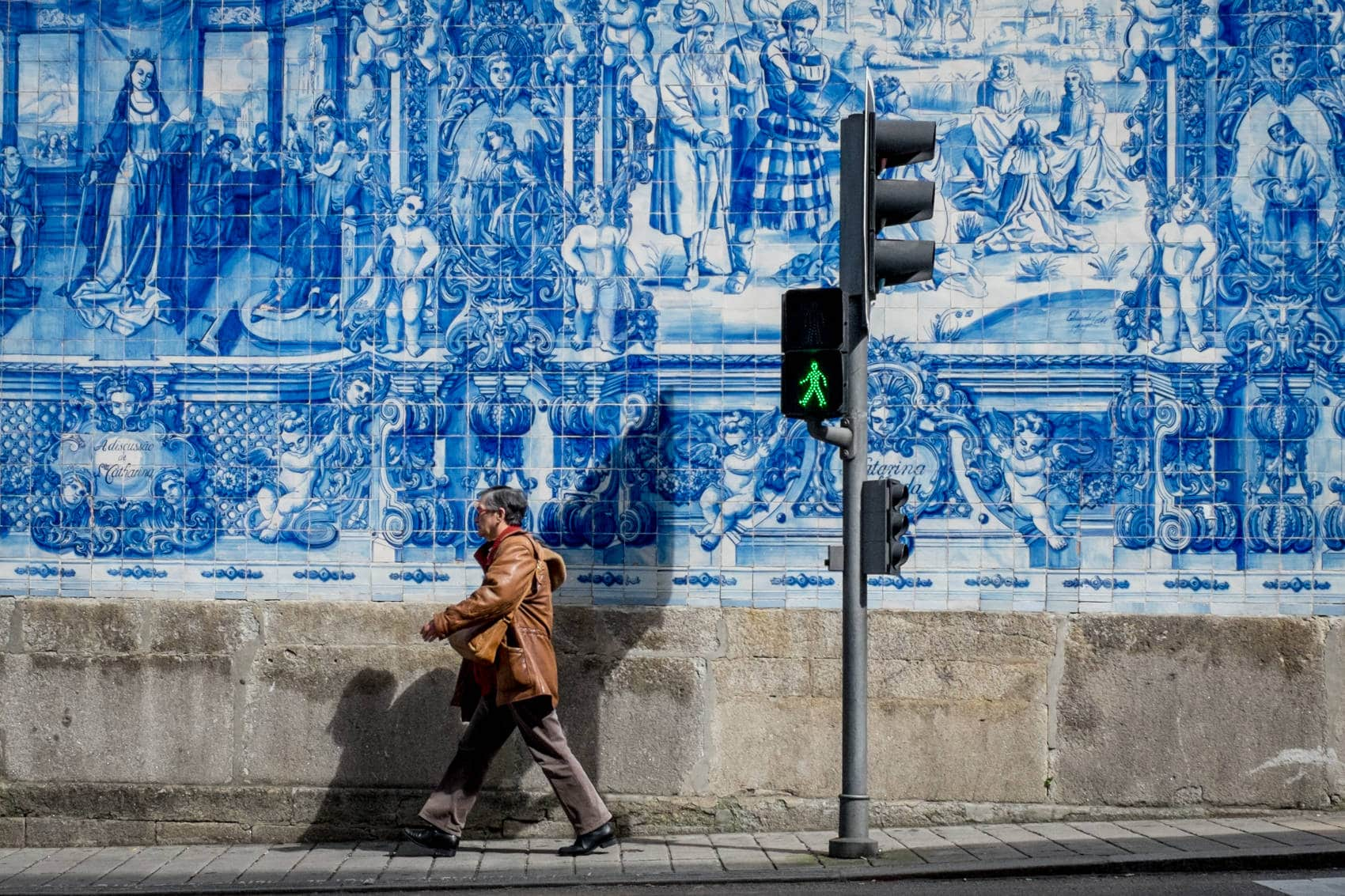Porto street photography of Azulejo, famous blue tiles