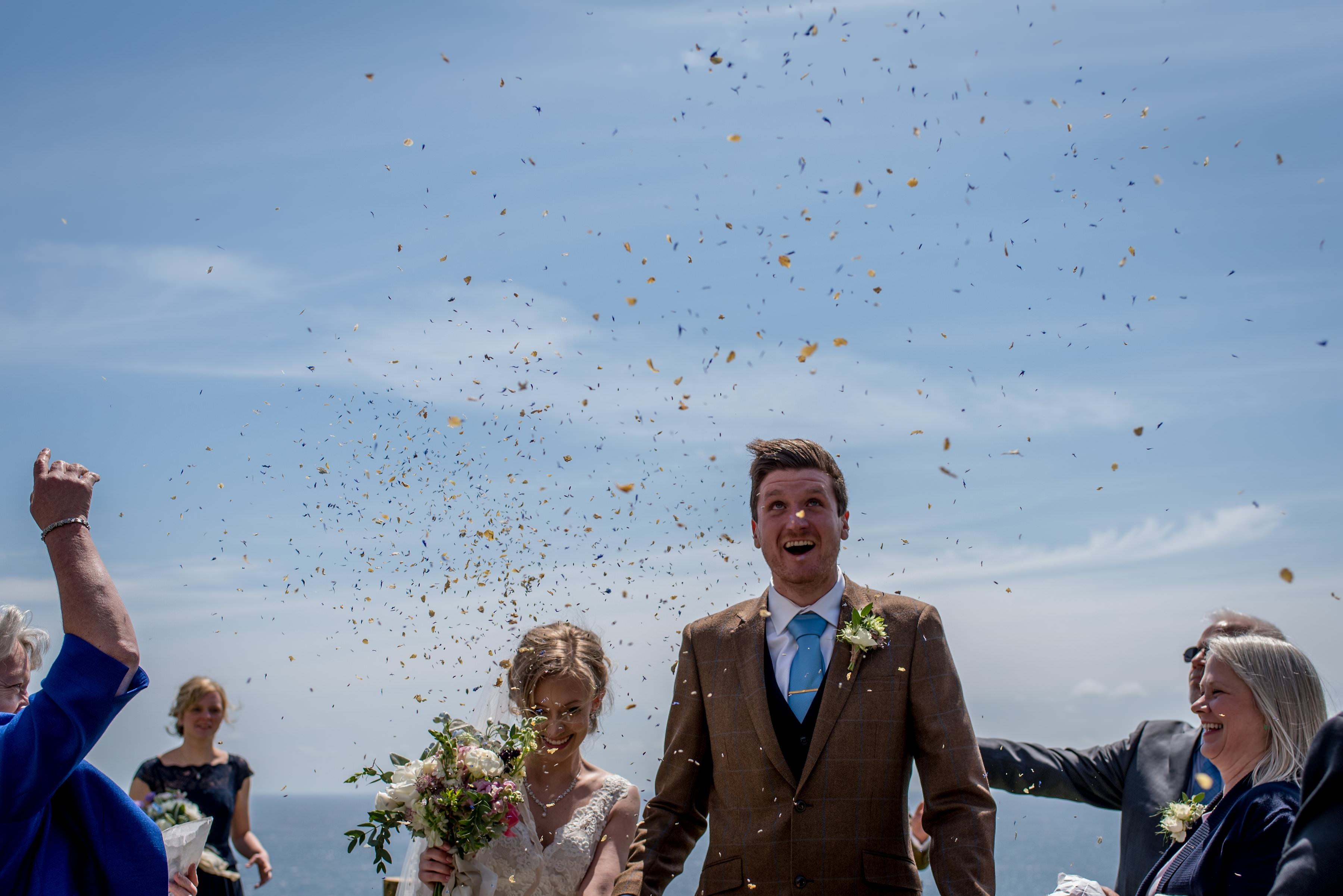 confetti at a Broom Parc Wedding in Cornwall