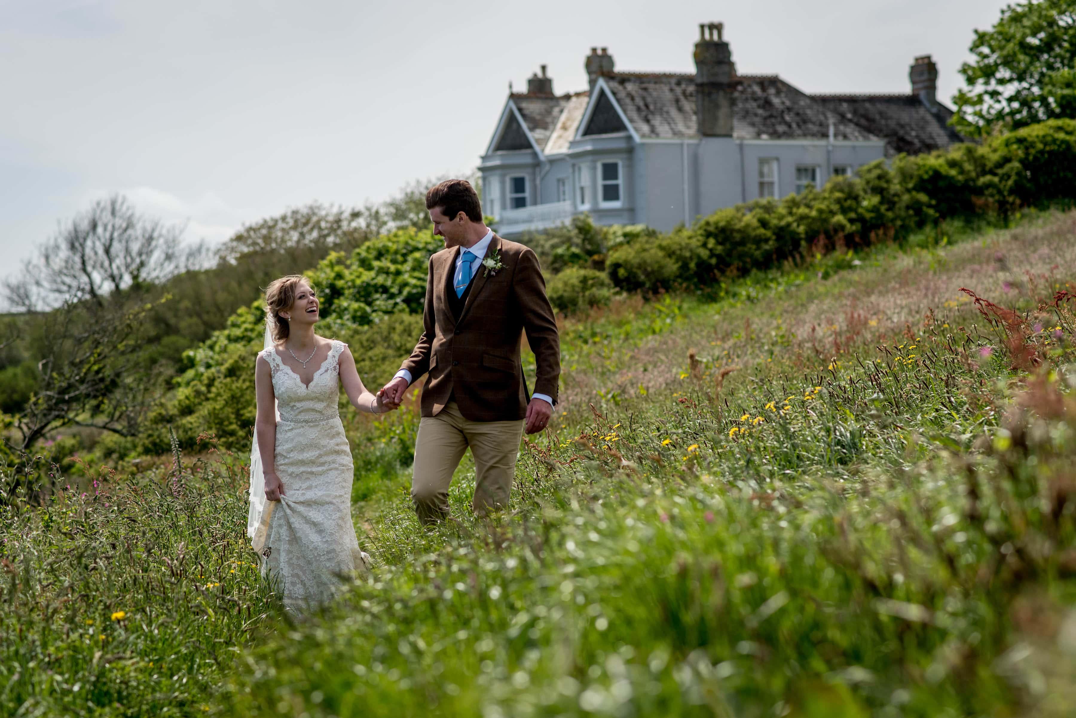 bride and groom at their Broom Parc Wedding in Cornwall