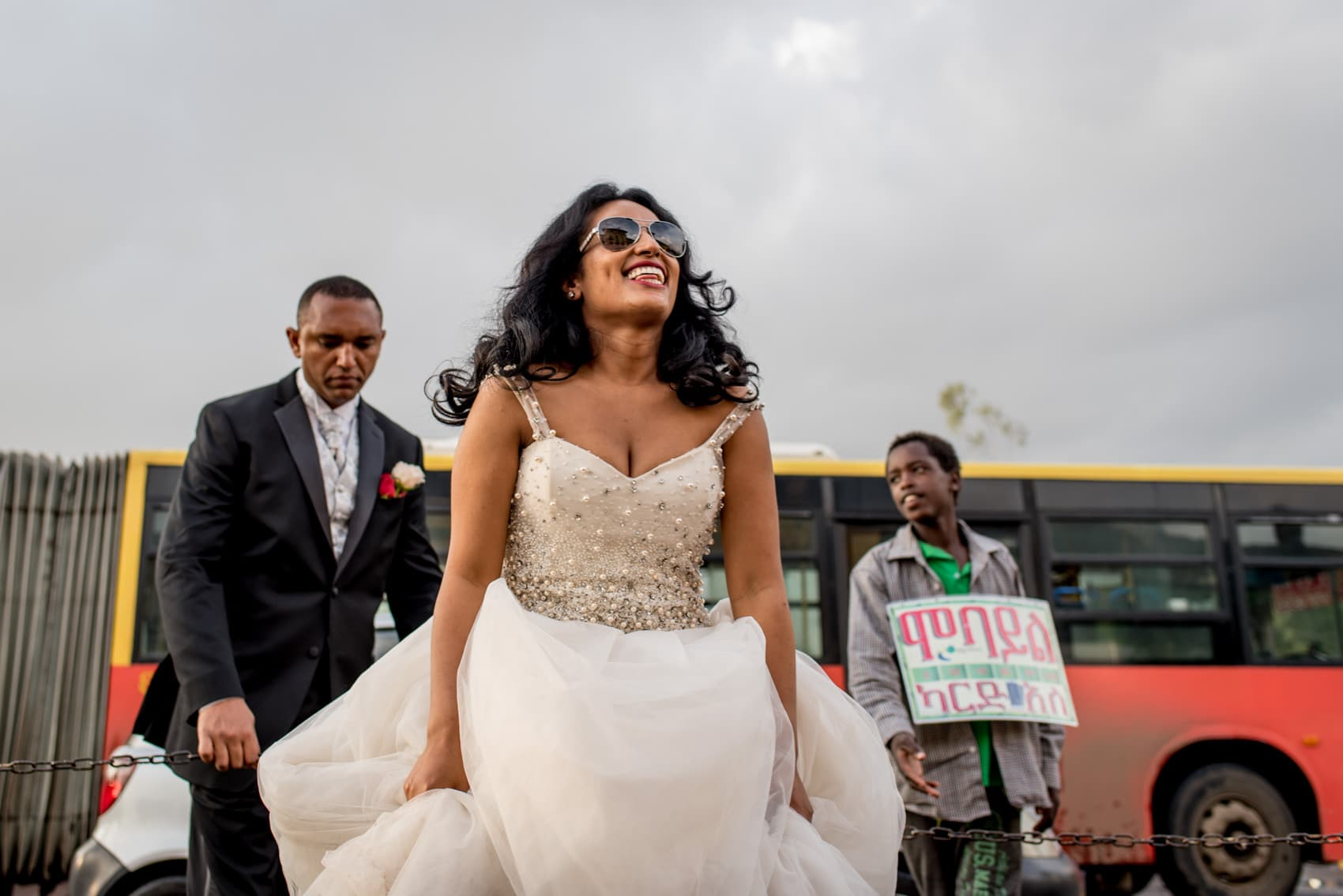 happy bride at bus depot in Addis Ababa