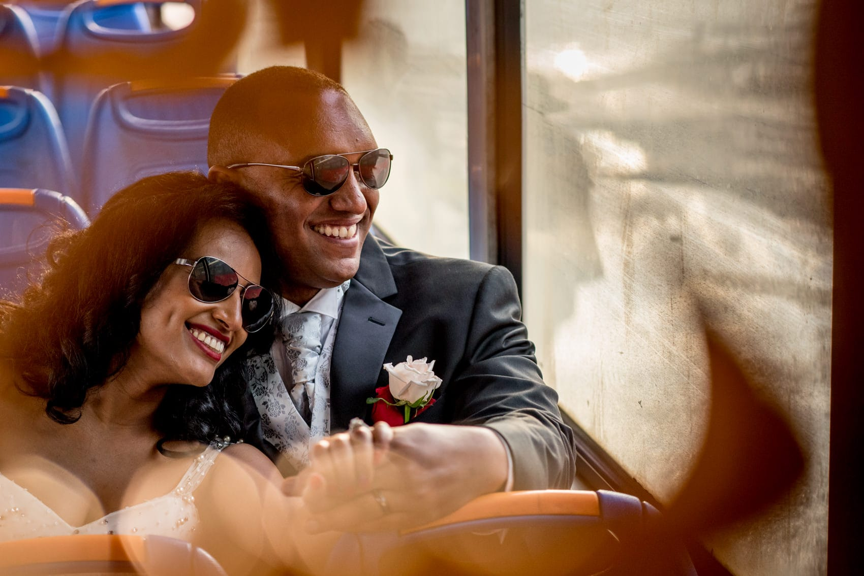 Bride and groom on a bus in Addis Ababa