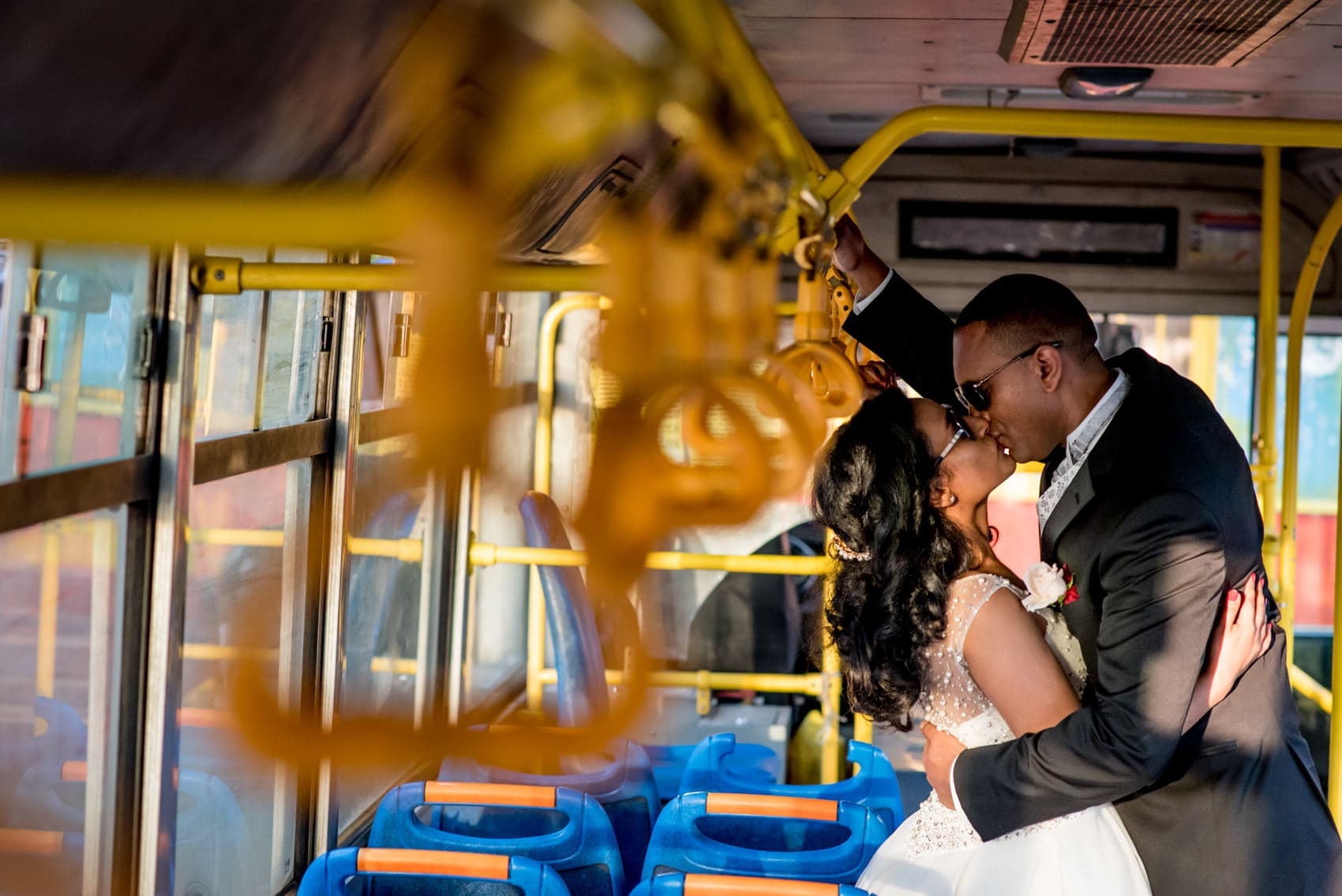 Wedding portrait photos inside a bus in Addis Ababa