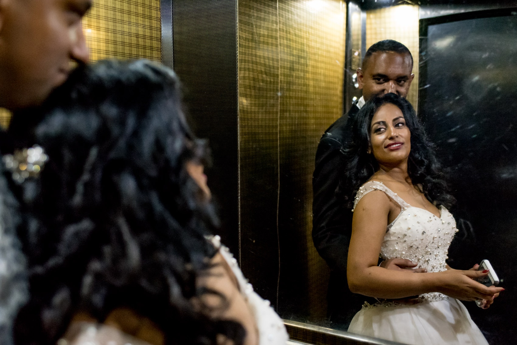 Ethiopian bride and groom in the lift