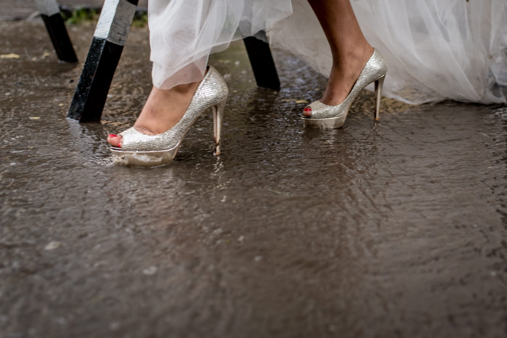 brides shoes in the rain in Addis Ababa, Ethiopia
