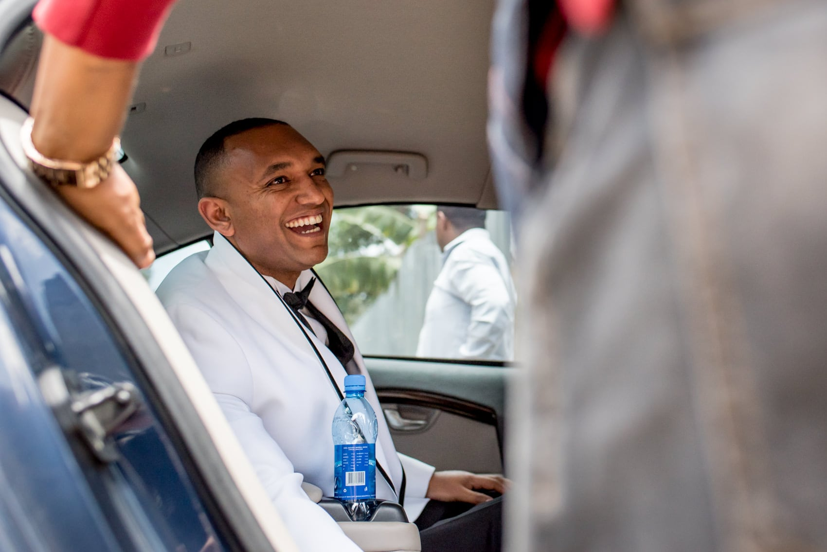 Ethiopian groom in limo