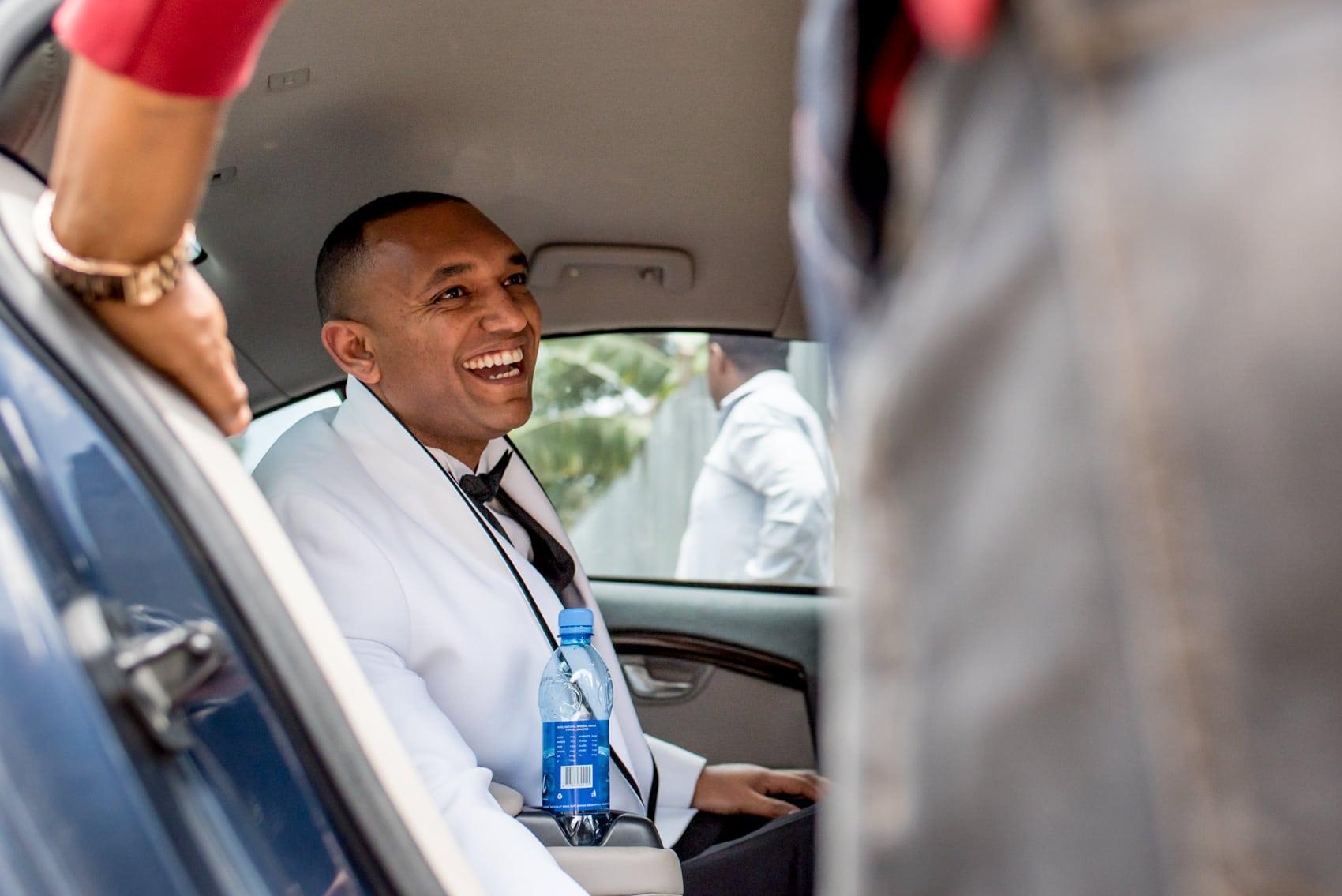 Ethiopian groom in limo