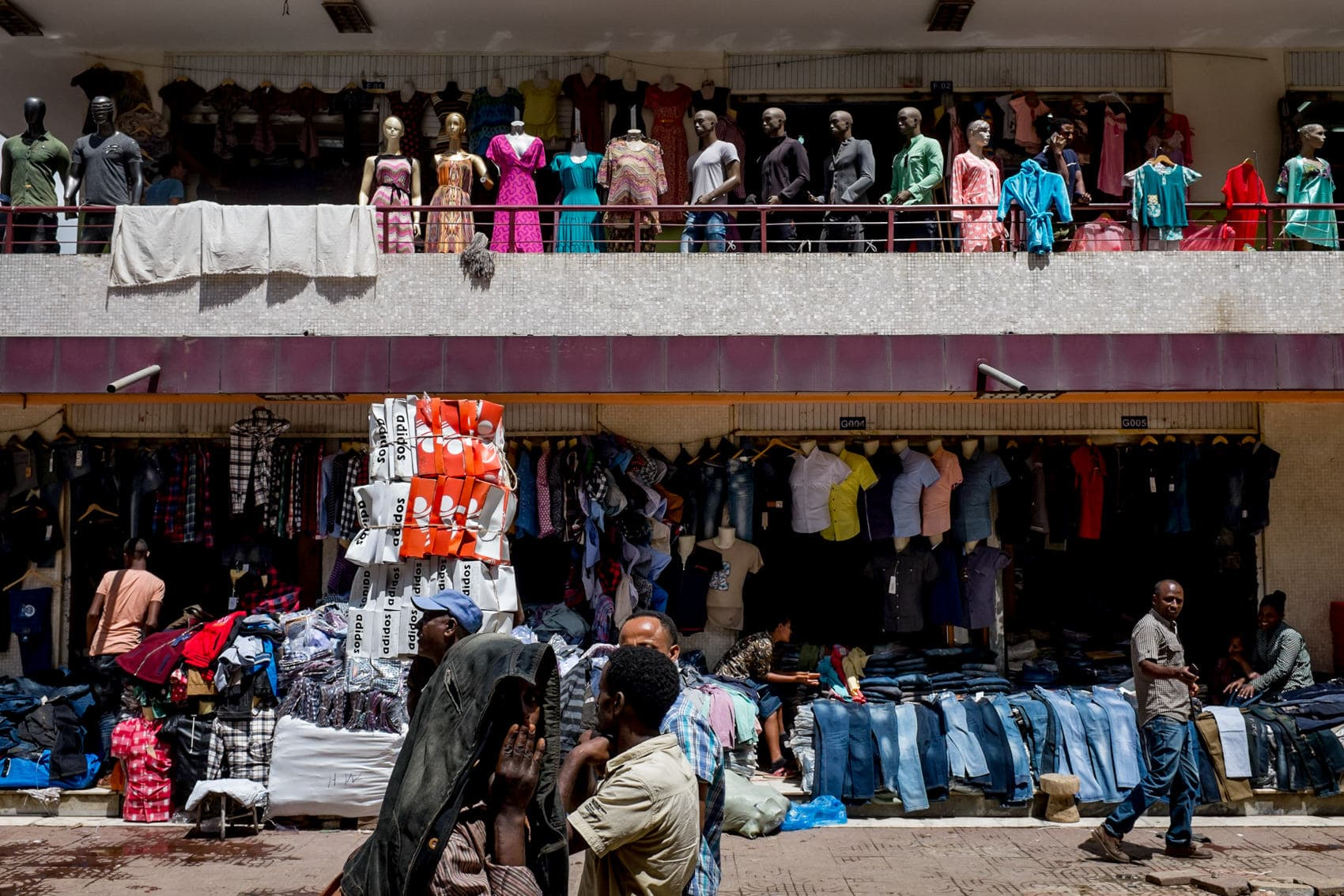 Addis Ababa street photography of clothes market