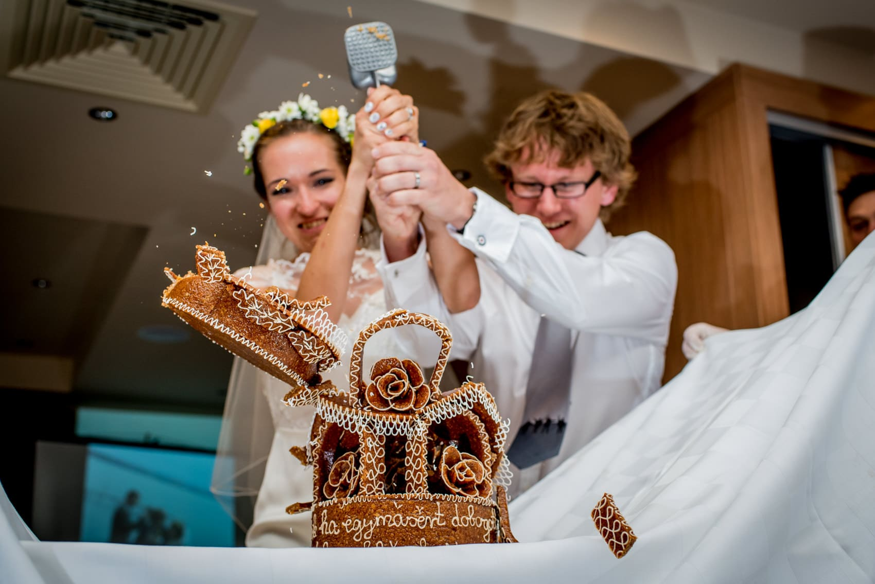 Smashing the cake, a Hungarian wedding tradition