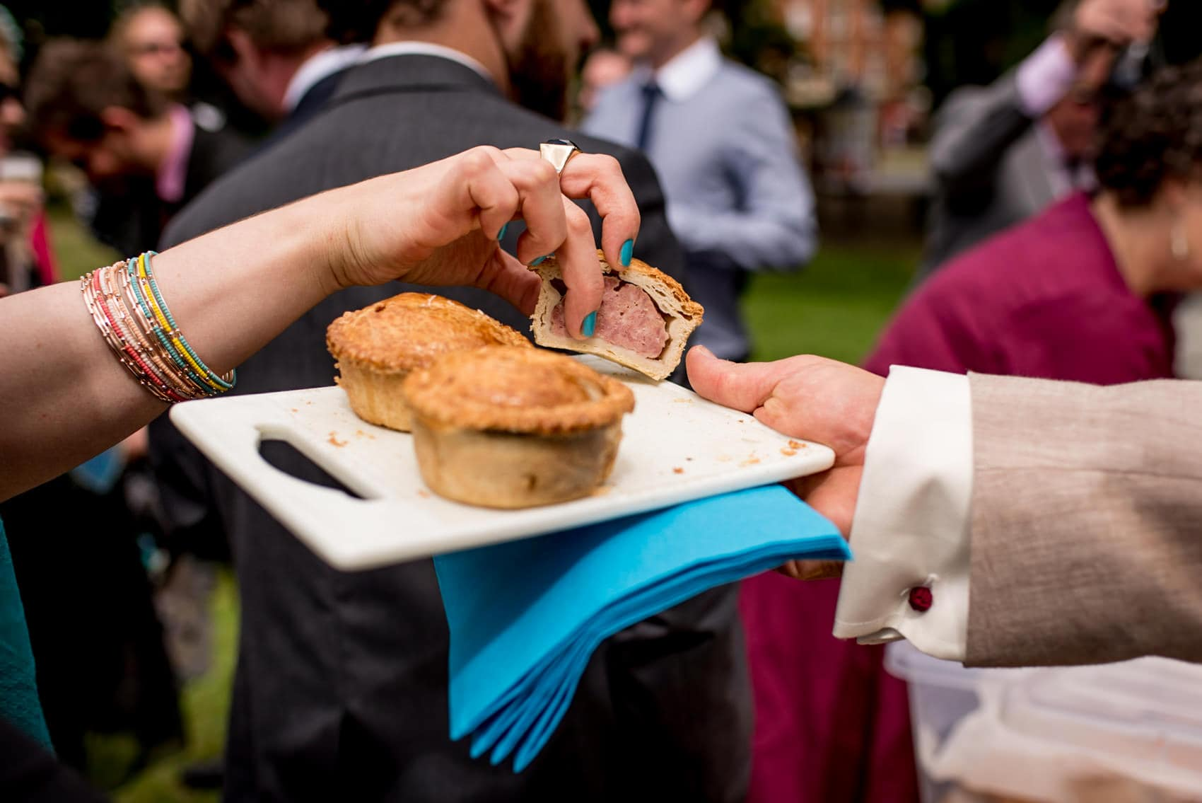 pork pies at this picnic wedding