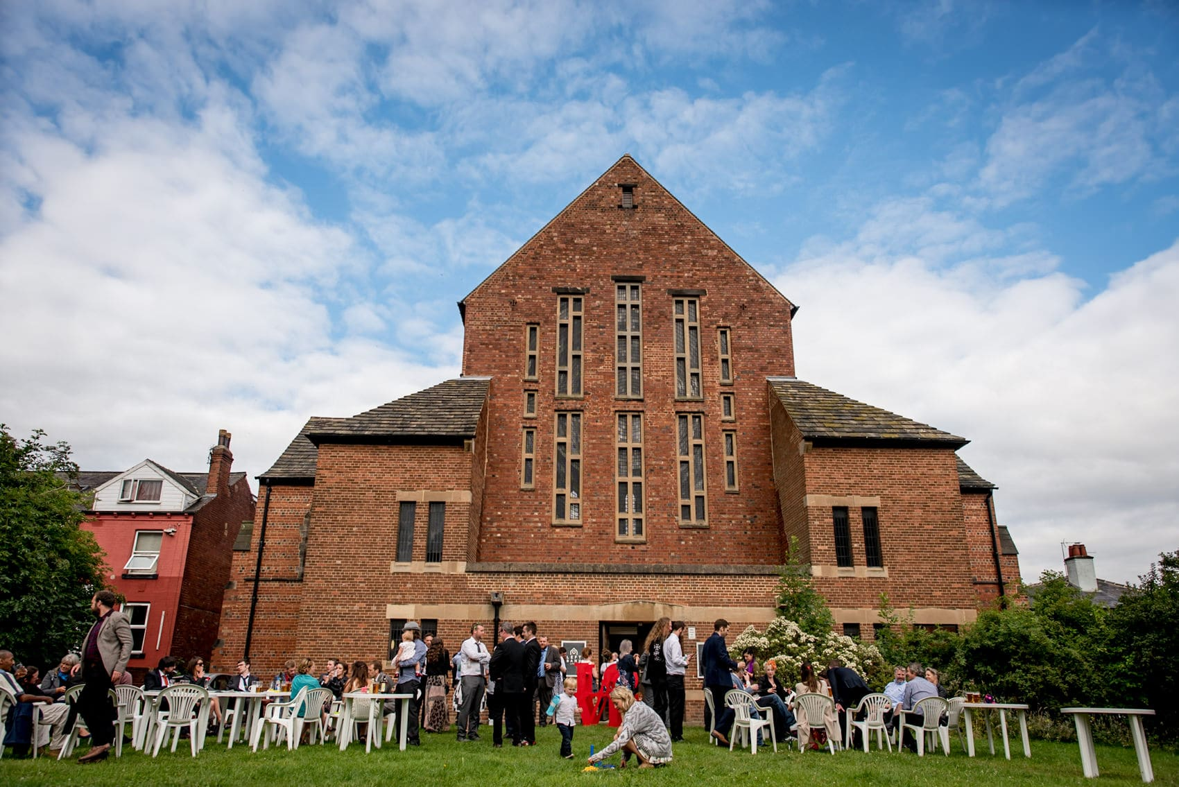 wedding reception at left bank leeds with blue skies