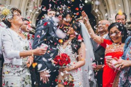 Flower petals being used as wedding confetti