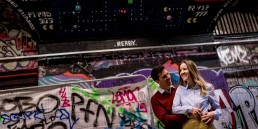 urban engagement photos with couple along leake street in London
