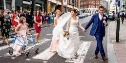 Bride and crossing London at her urban wedding at St Barts Brewery take my London wedding photographer Matt Badenoch