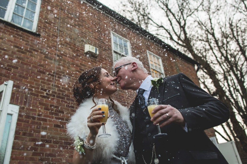 Wedding With Snow From Machine Confetti