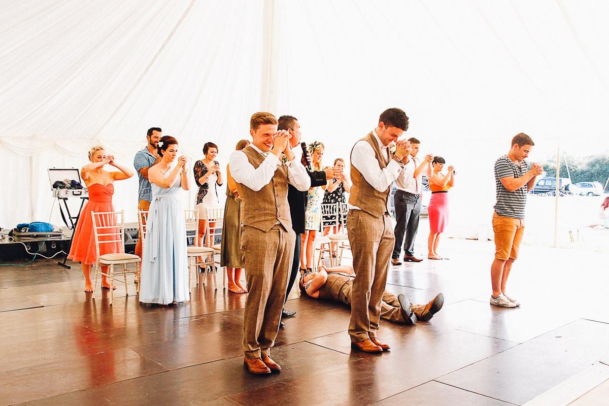 wedding guests attending a hypnotist class