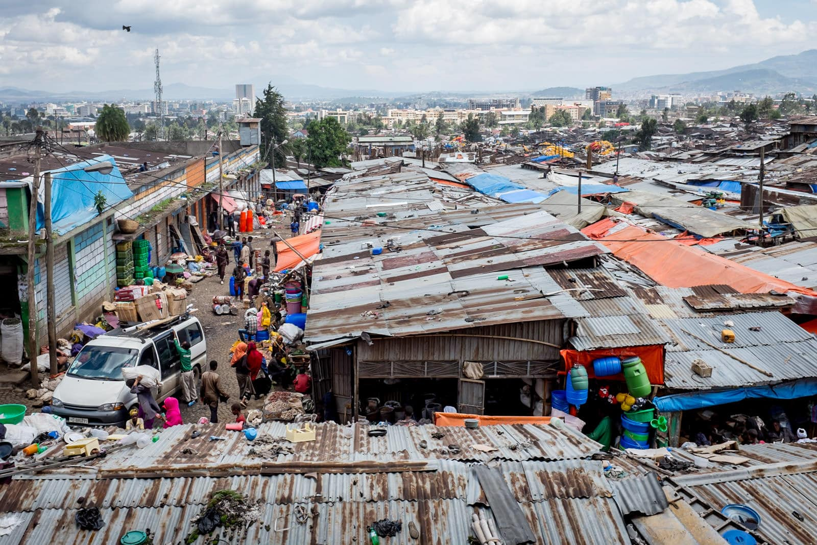 Overview of the tin roofs of Addis Merkato in Ethiopia