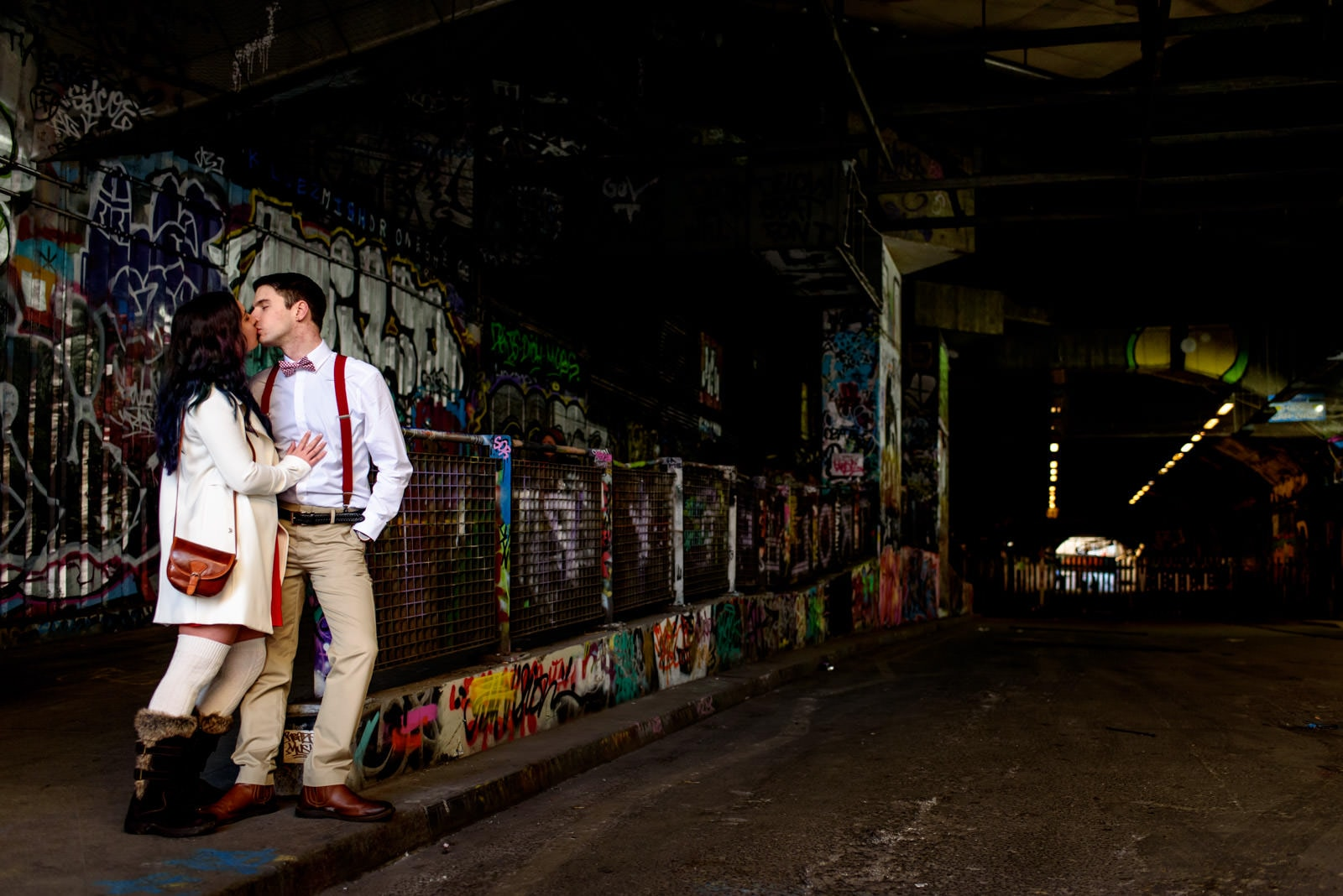 Couple engagement photography in the waterloo tunnels.