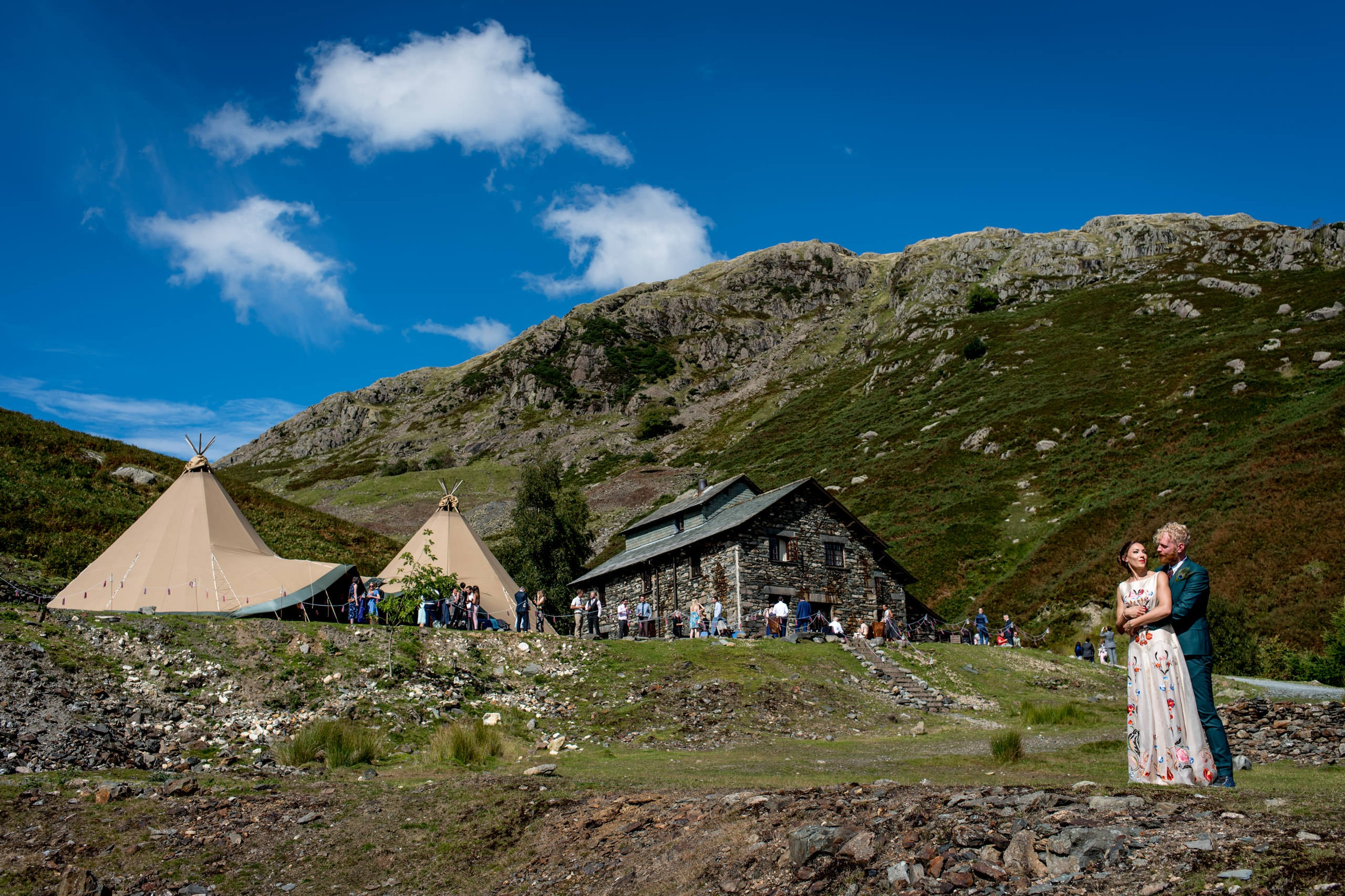 bride and groom at their Consiton Coppermines Wedding with Tipis in the Lake District.
