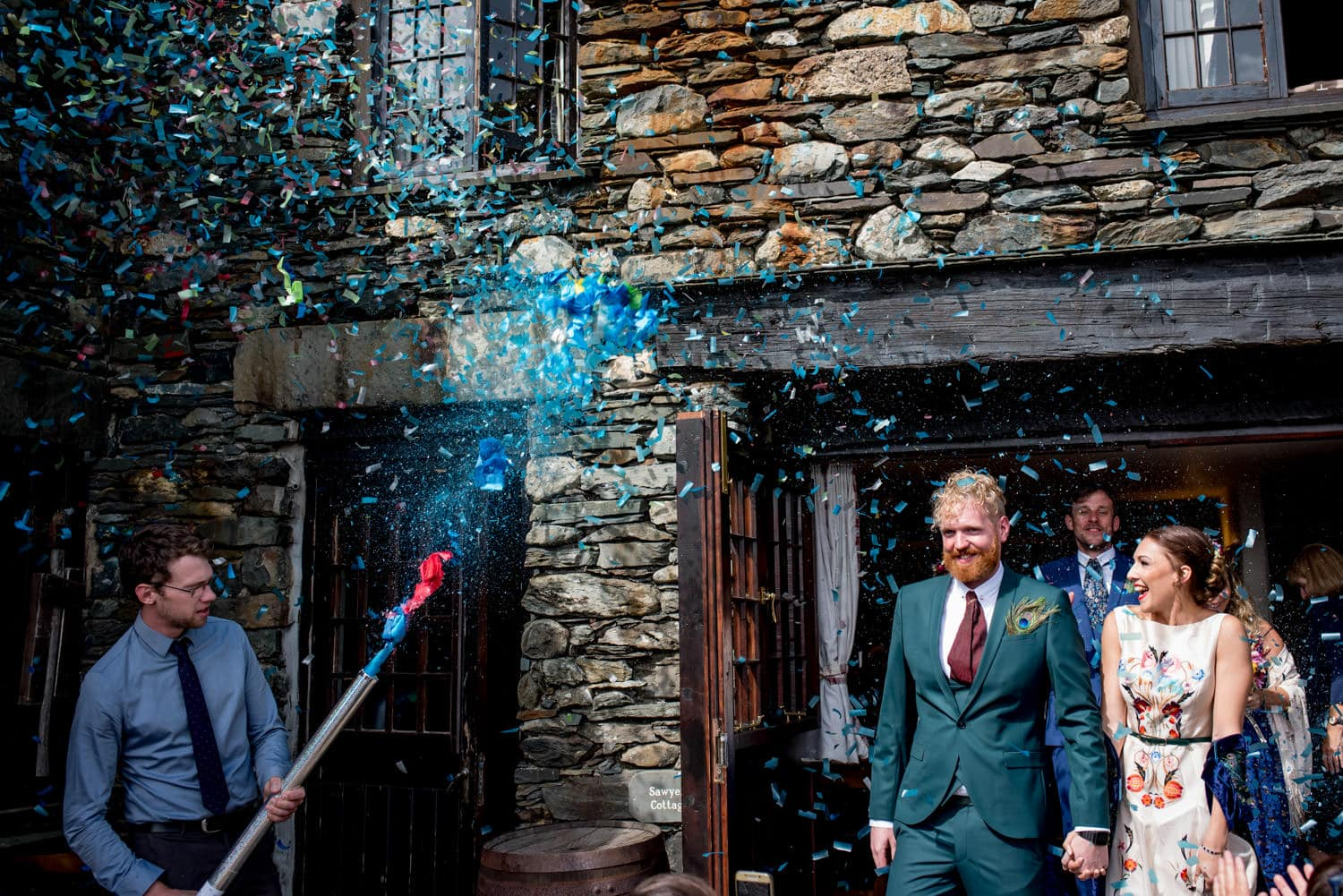 Confetti cannons at the Coniston Coppermines Cottages.