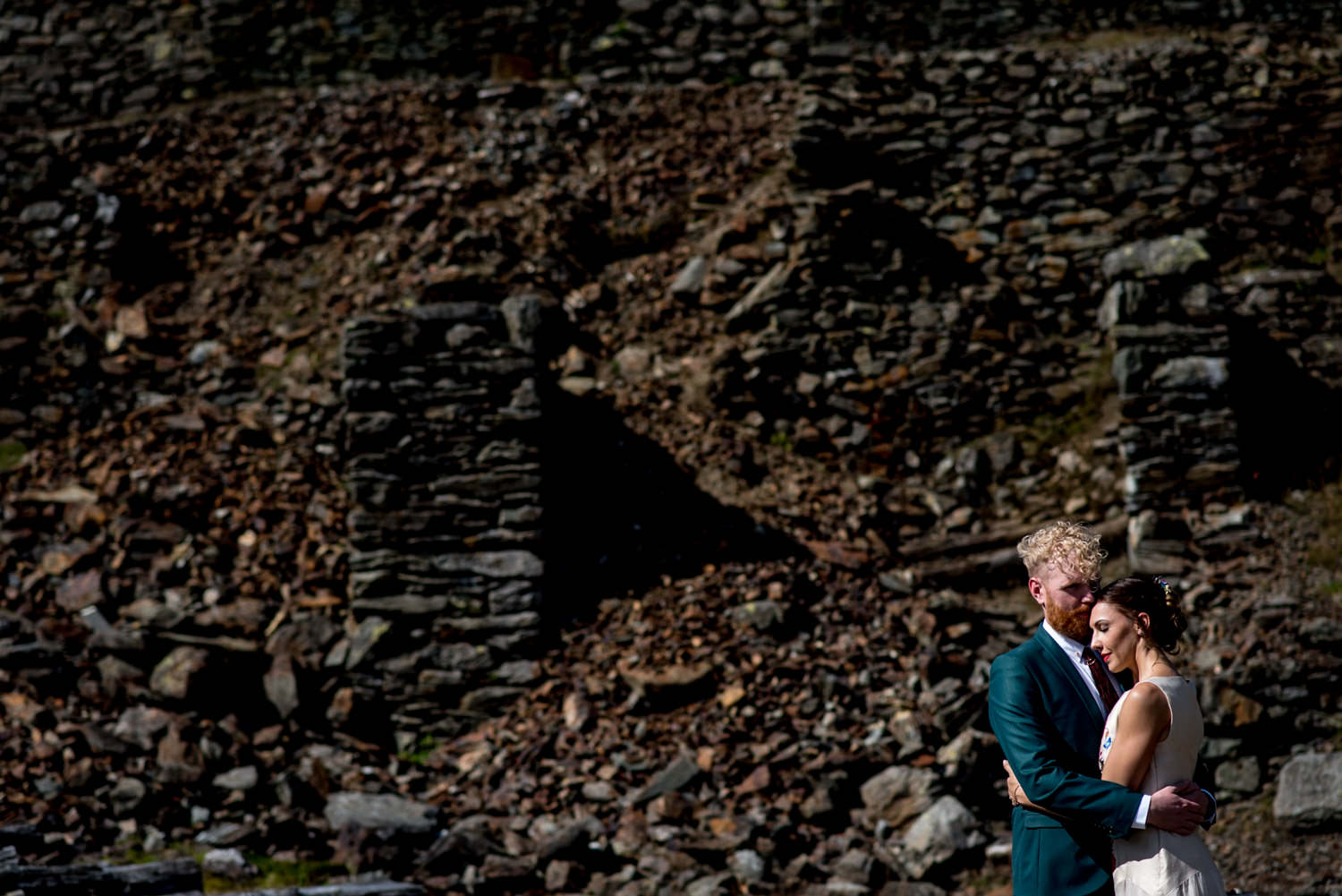 Bride and groom portrait at the old Coppermines in Coniston