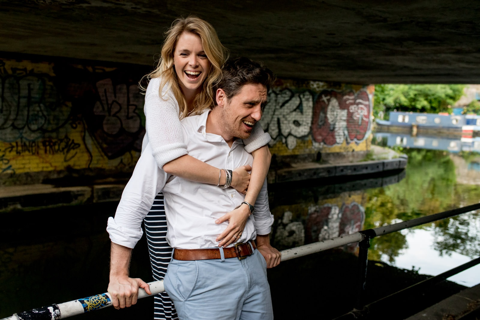 Engagement pictures of couple along Camden Canal