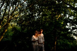 Couple in beautiful light in Regents Park during their Engagement Pictures