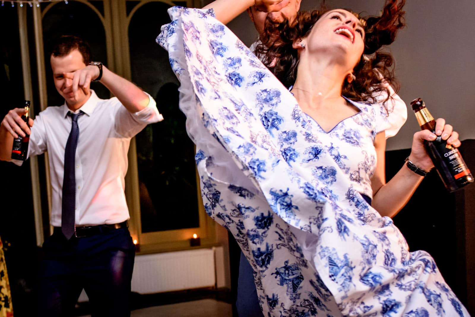 Dress in the air and crazy dance moves at this wedding