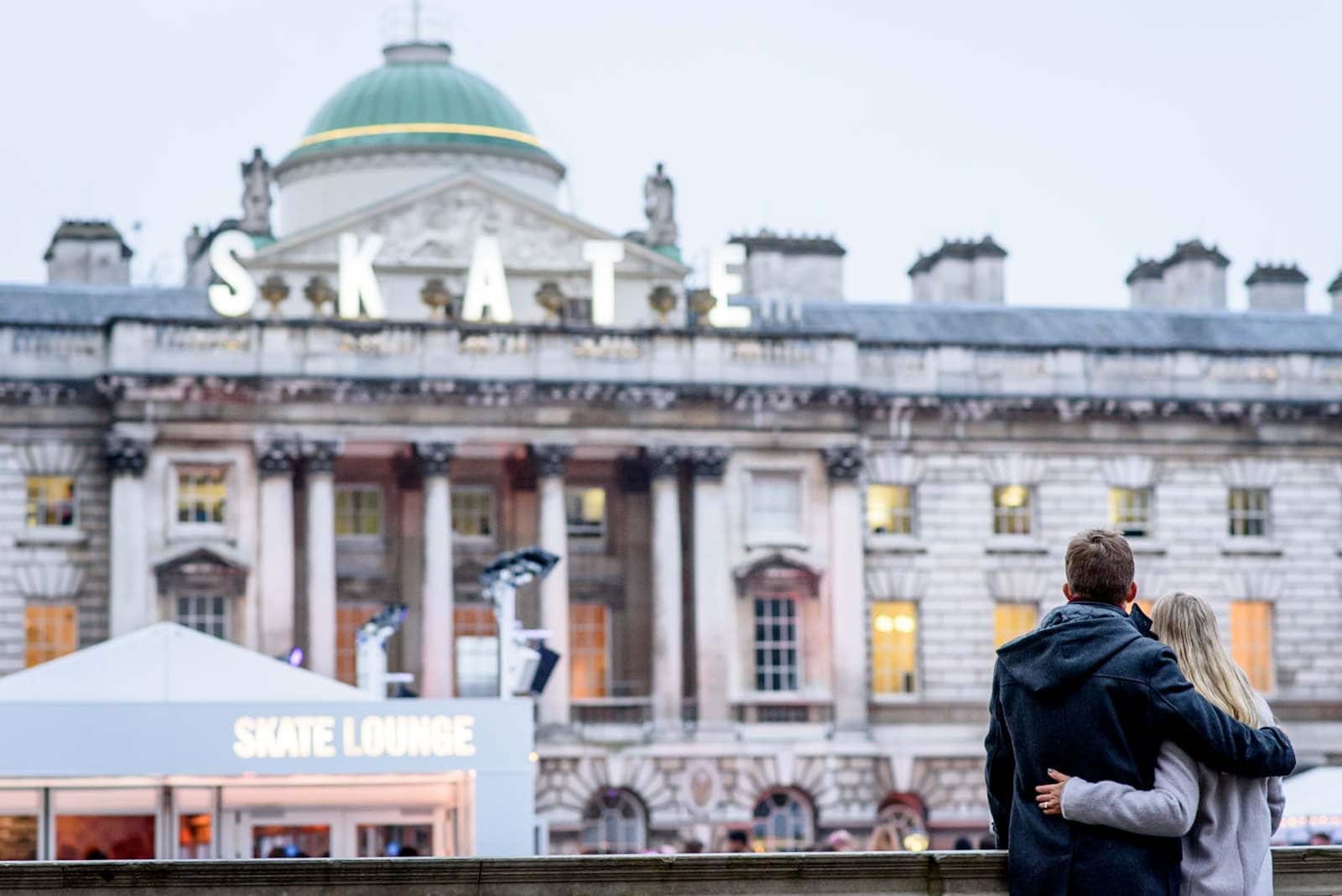 A couple hugging in somerset house
