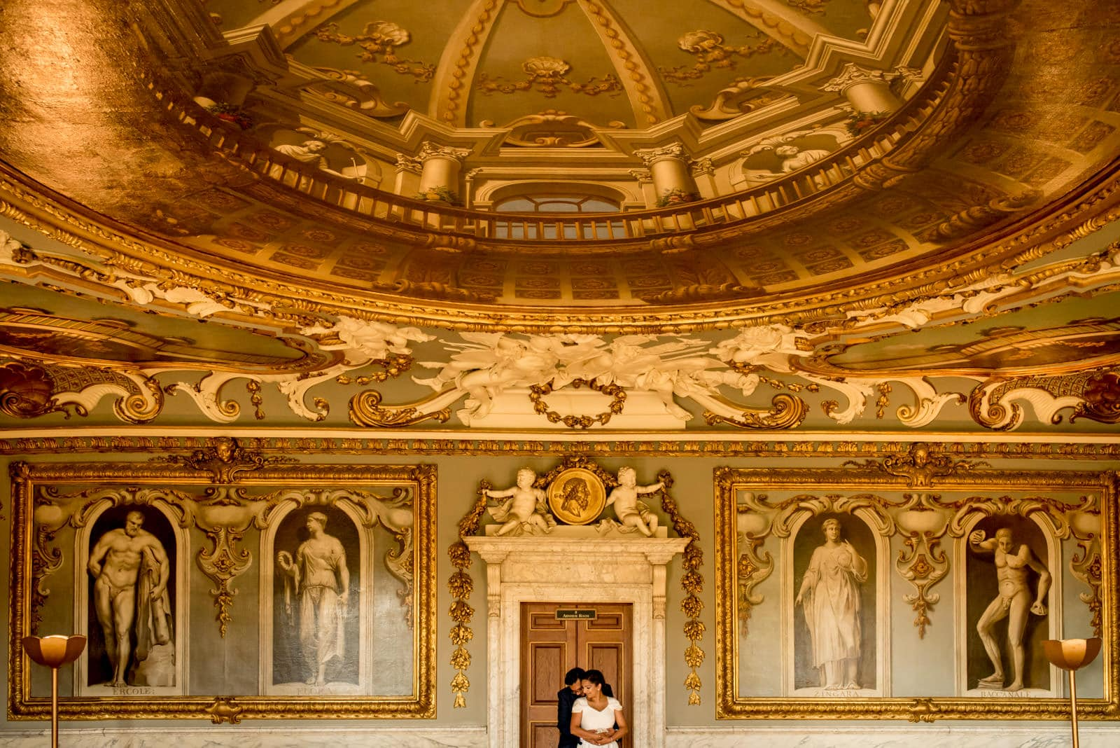 Indian bride and groom portrait at Moor Park mansion