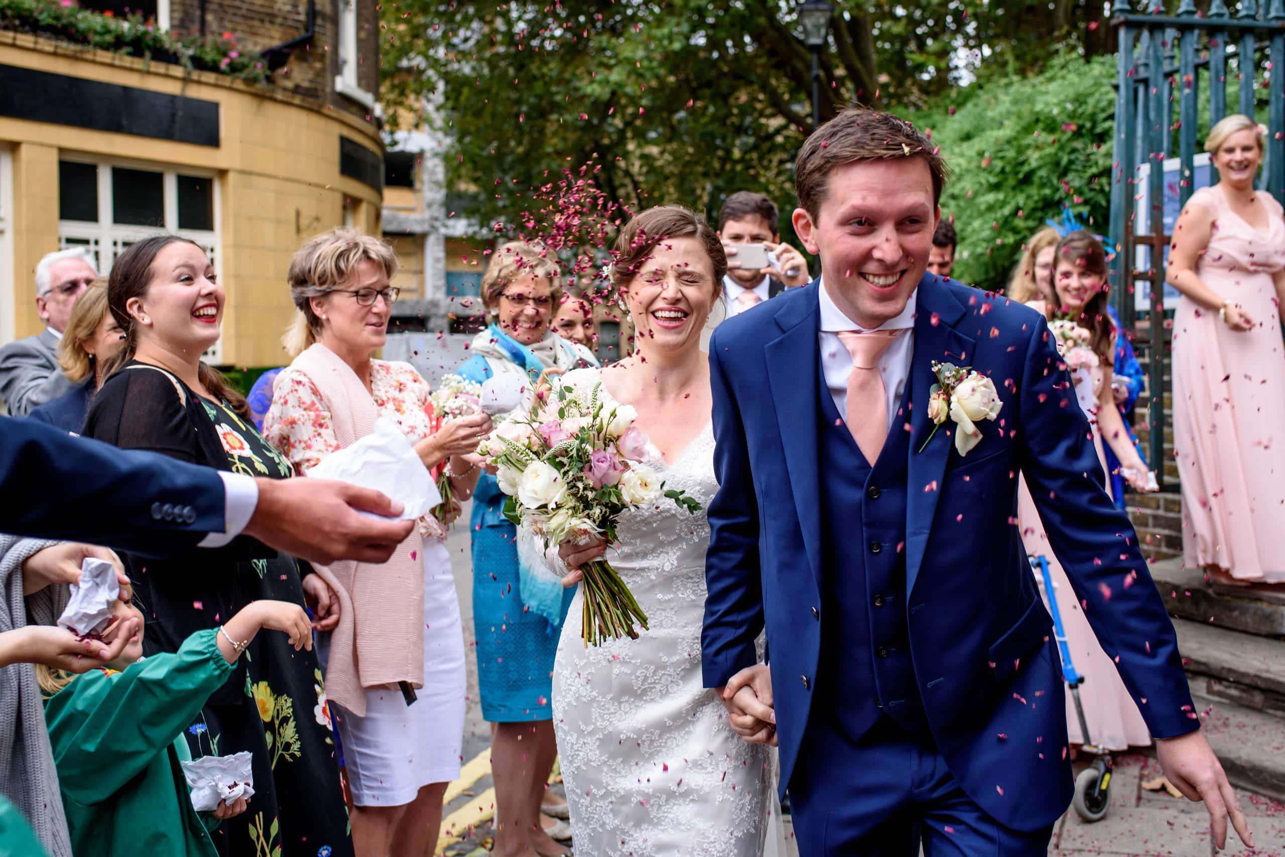 Bride and groom wedding confetti in North London