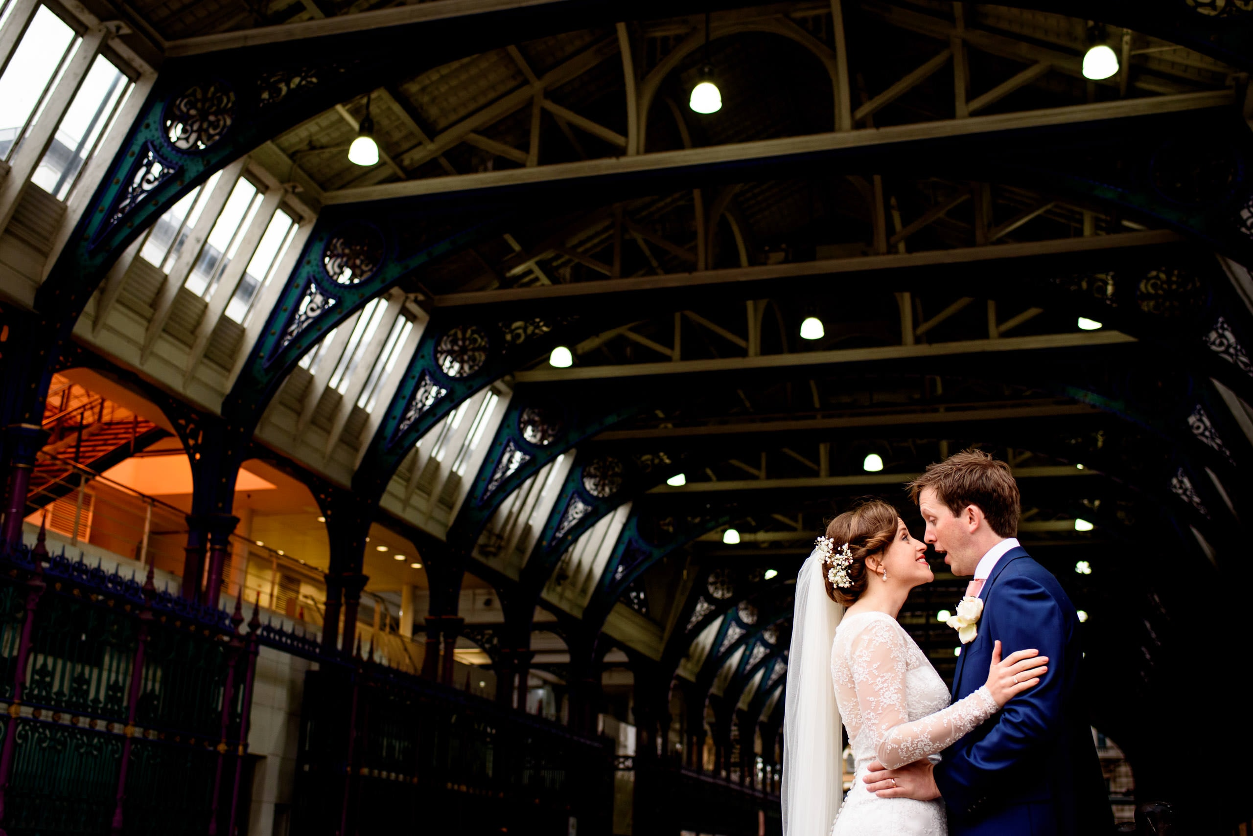 Bride and groom wedding portrait outside smithfields market