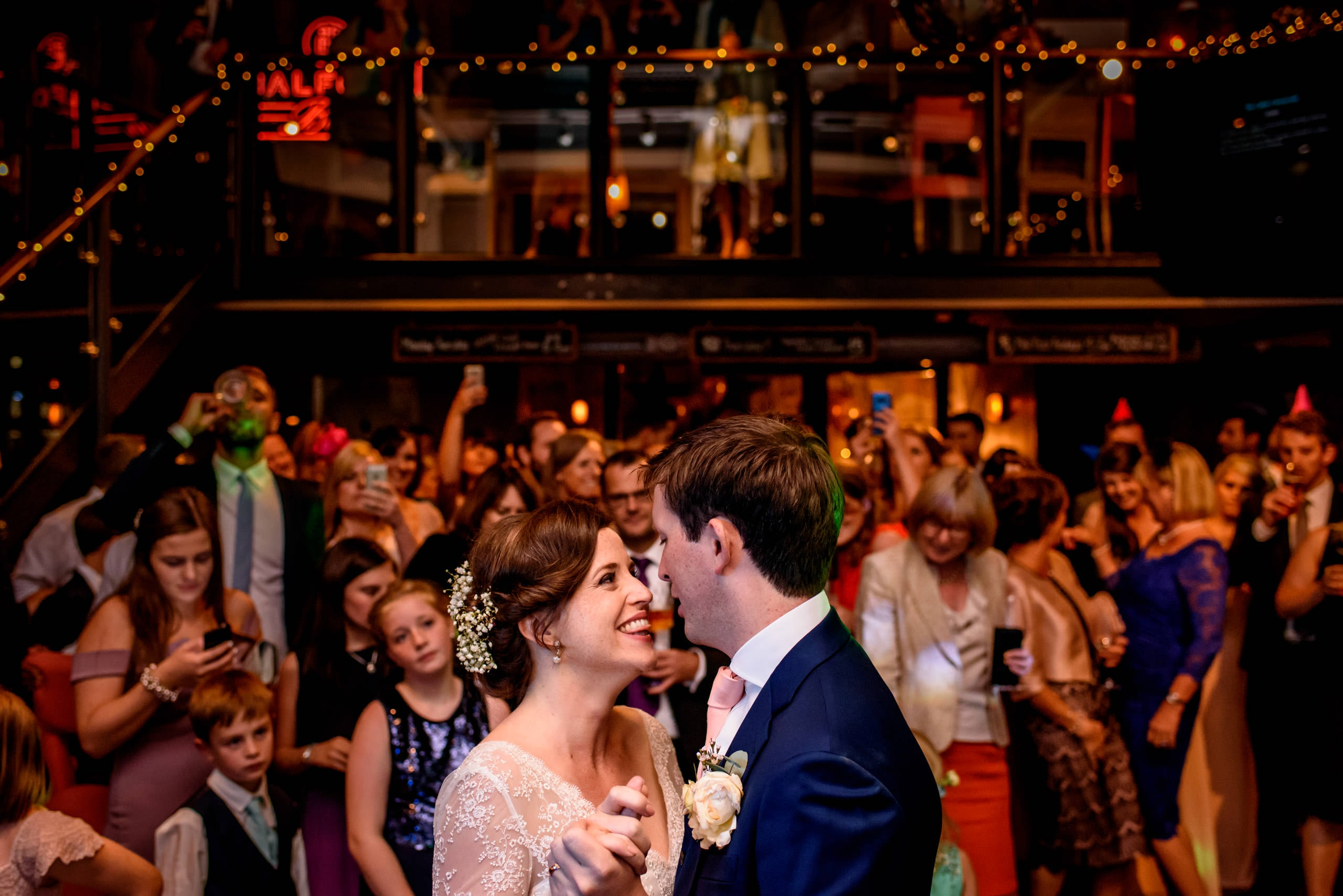 Bride and groom first dance at St Bart's Brewery in Smithfields, London