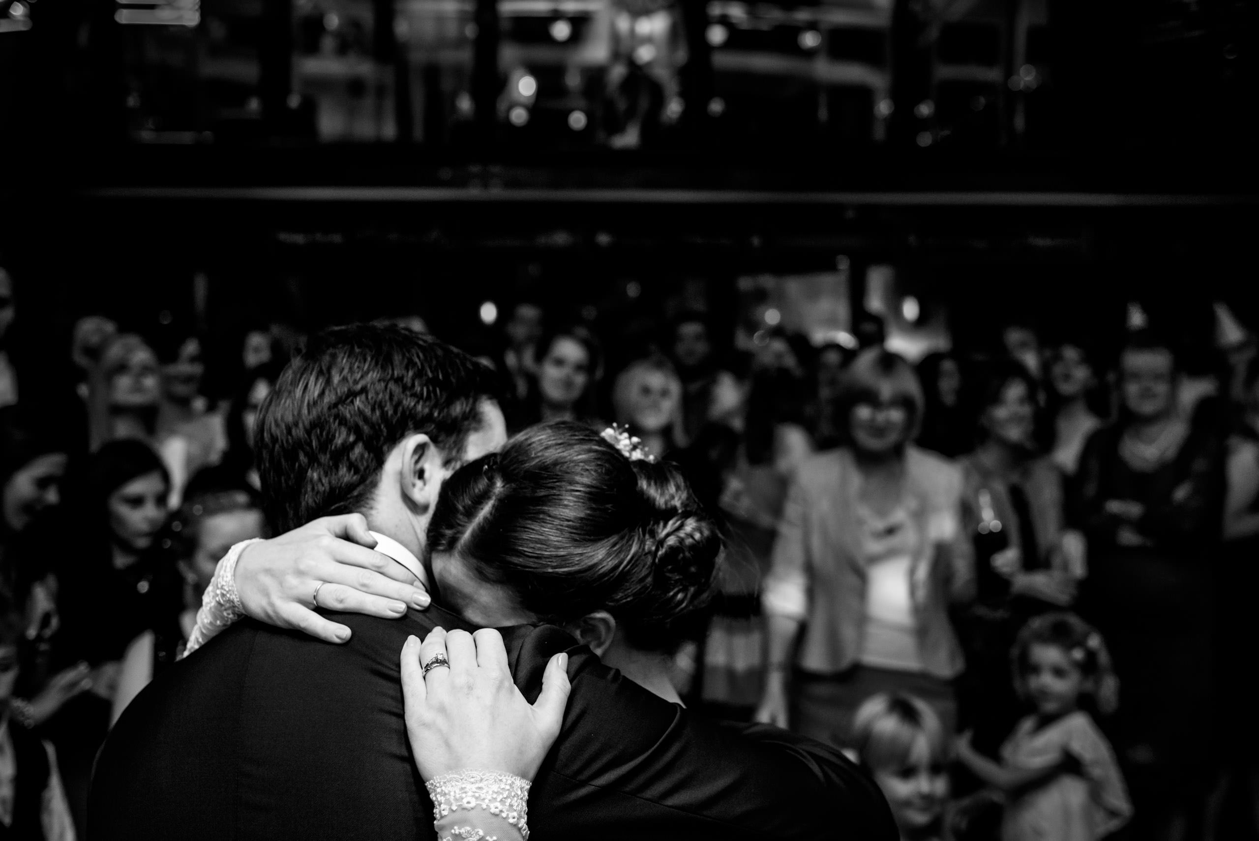 Black & white photo of a first dance at a St Bart's Brewery Wedding in London