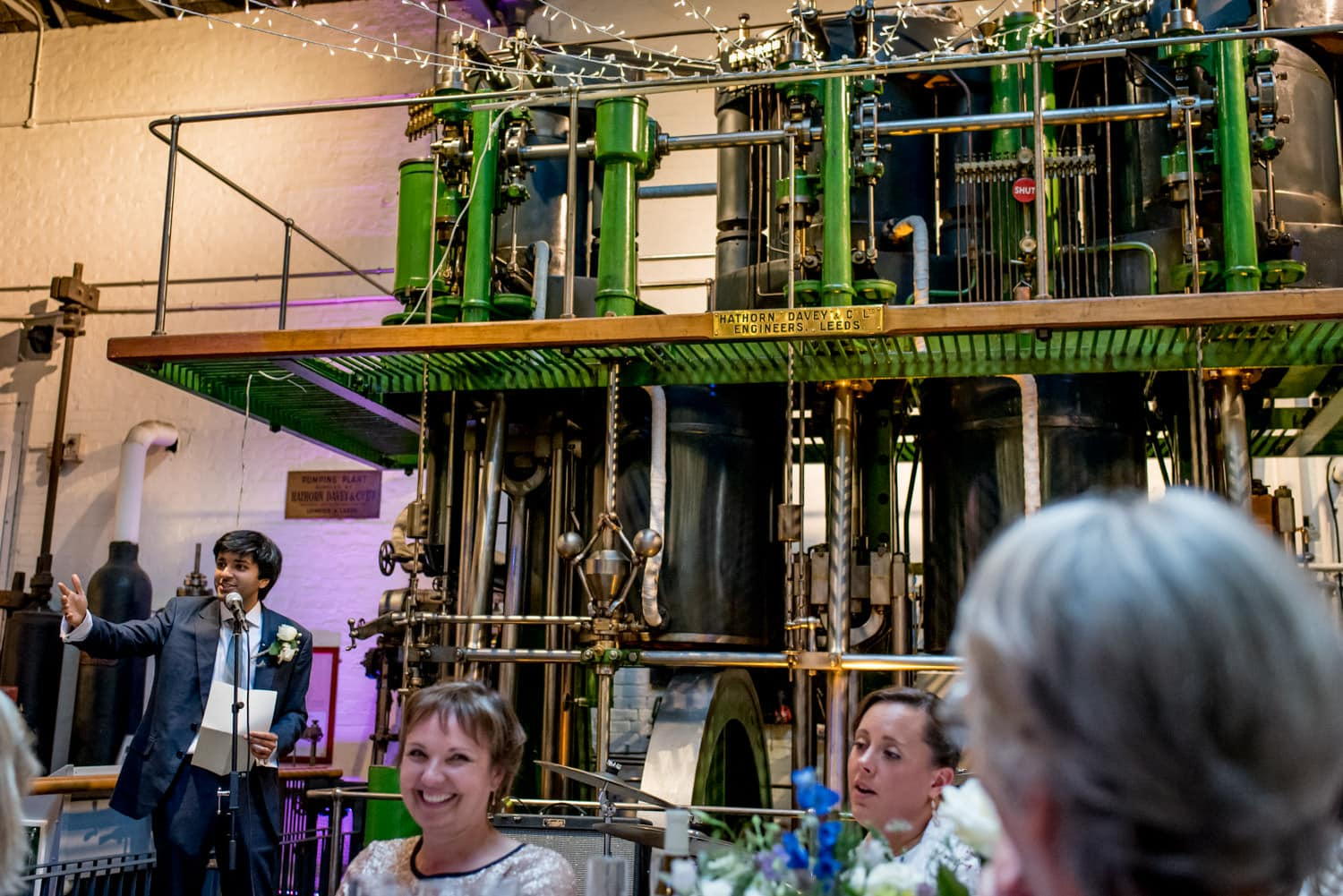 wedding speeches at the Museum of Water and Steam in London