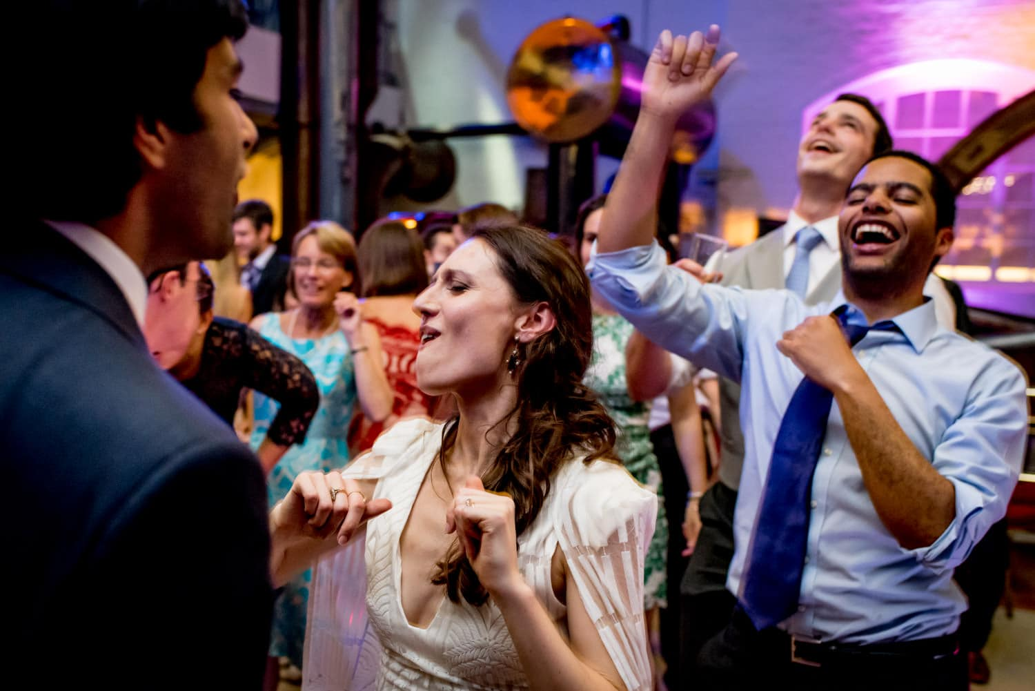 bride dancing at her wedding at the London museum of water and steam
