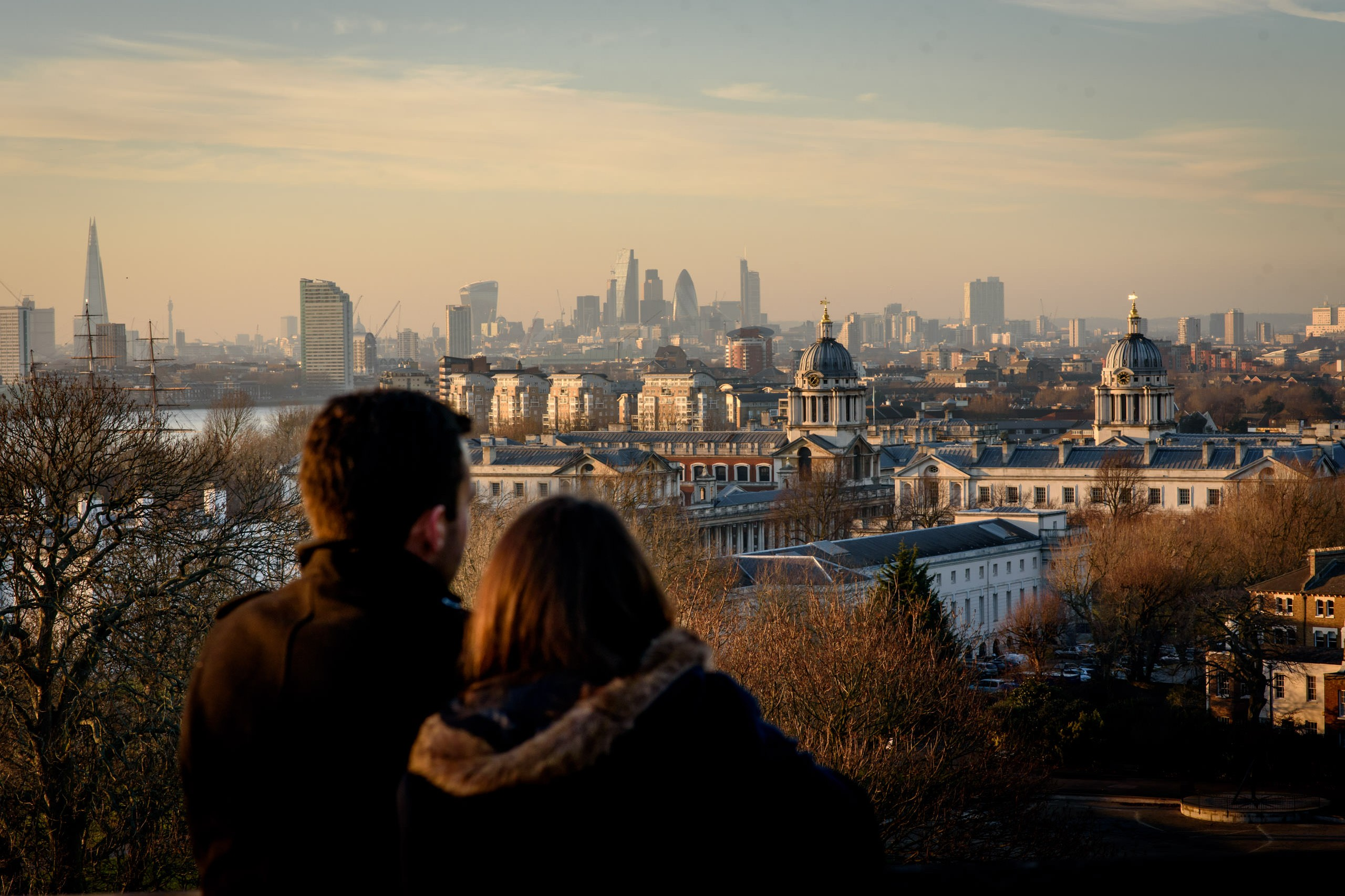 view over London at sunset for London engagement photos
