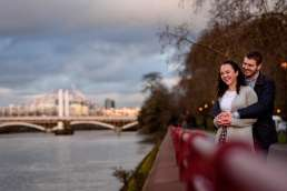 Photo of couple hugging during their Battersea Park engagement photo session in London