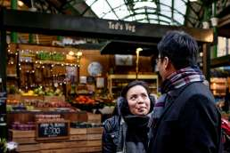 Photo of couple during their Borough Market photo shoot in London