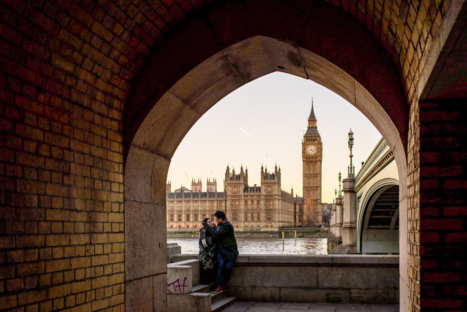Photo of couple during their London engagement shoot at Big Ben and Parliment