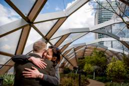 Photo of couple during their Canary Wharf engagement photos