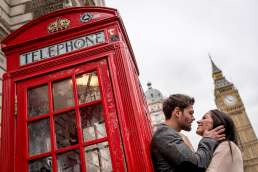 Photo of couple infront of a red phone box during their Big Ben engagement shoot in London