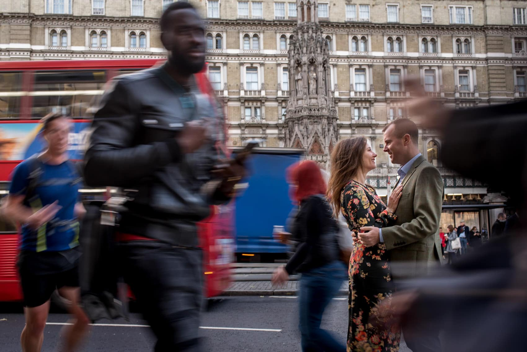 Photo of couple during their Piccadily circus engagement shoot