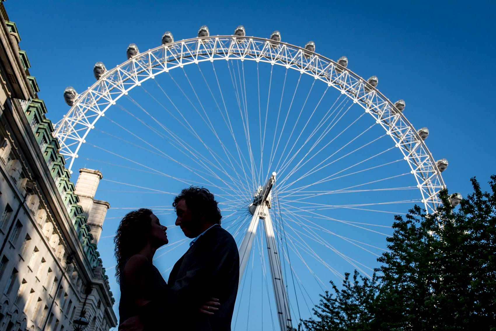 Photo of couple during their London Eye Engagement shoot