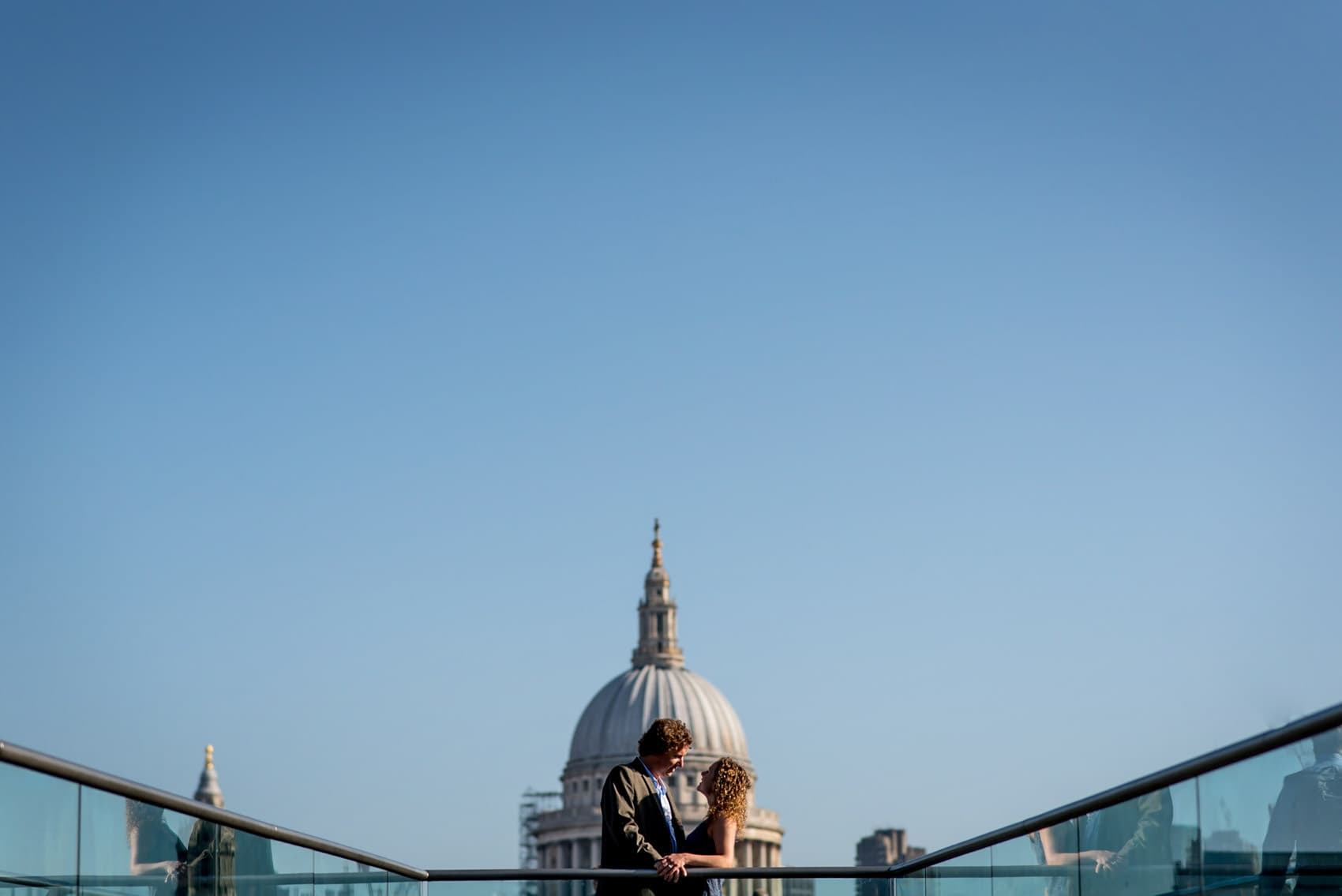 Photo of couple in front of st pauls during their London engagement photo shoot