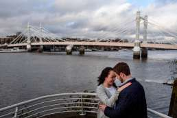 Photo of couple during their Albert bridge engagement shoot in London
